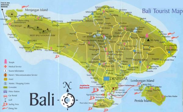 Карта острова бали подробная