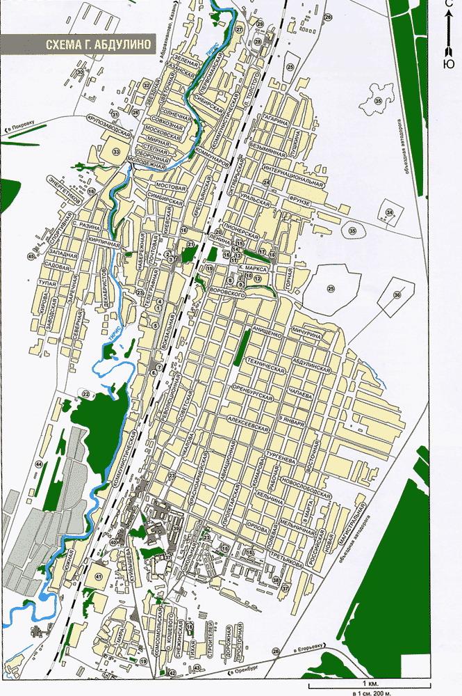 Карта города Абдулино с