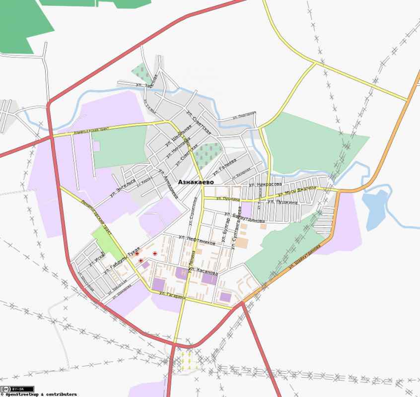 Карта города Азнакаево с