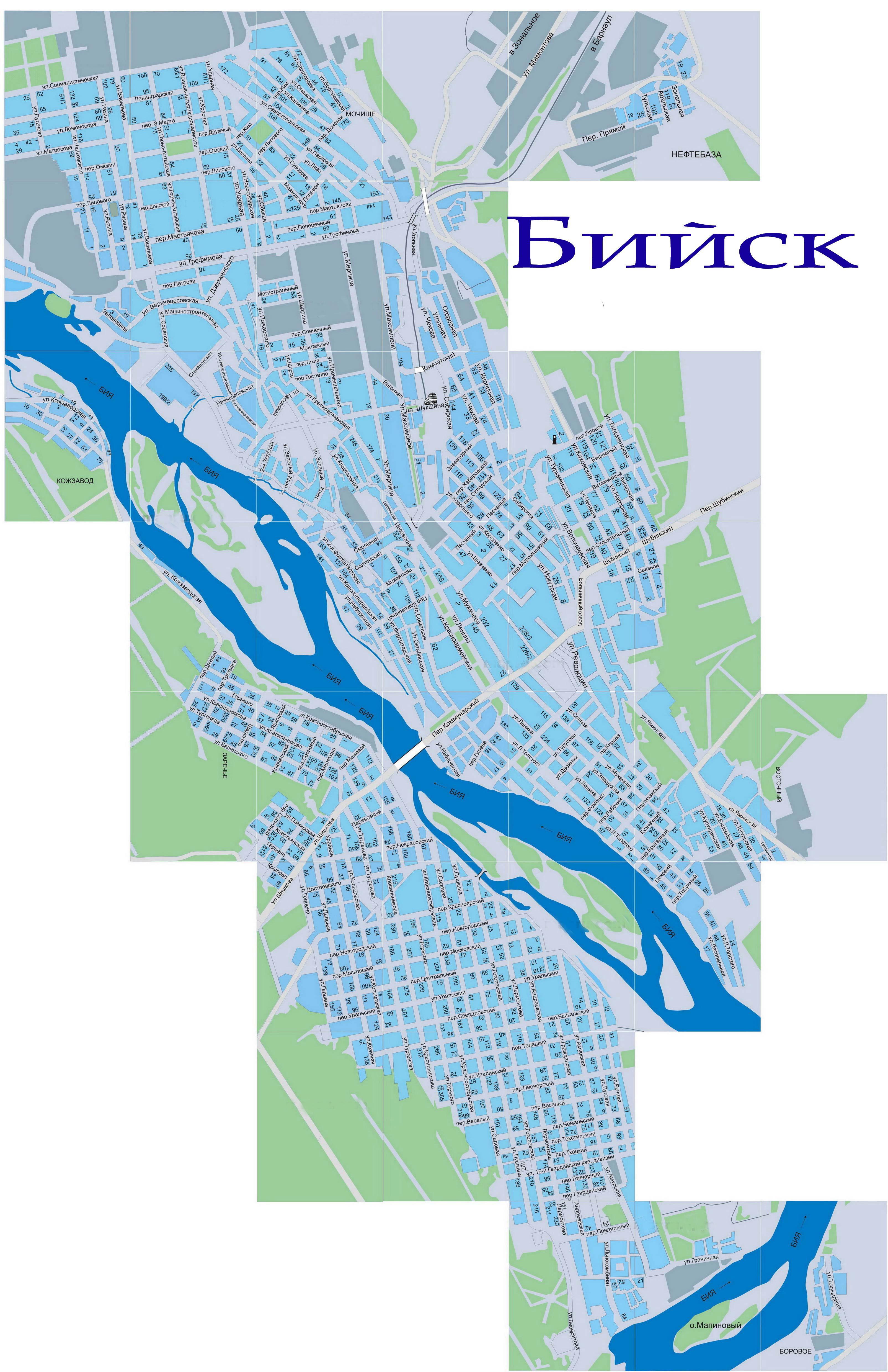 Карта Бийска с районами, улицами и номерами домов