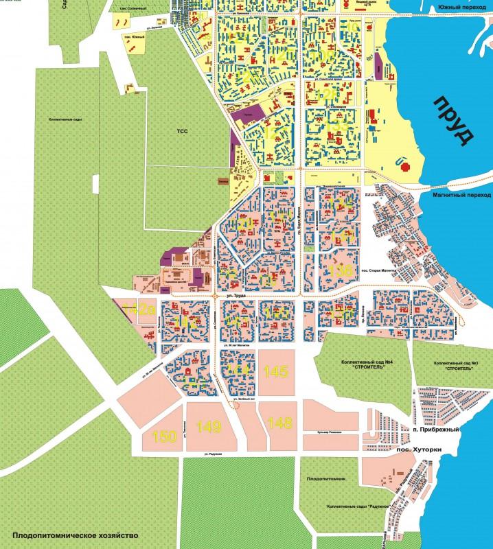 Карта Магнитогорска с улицами