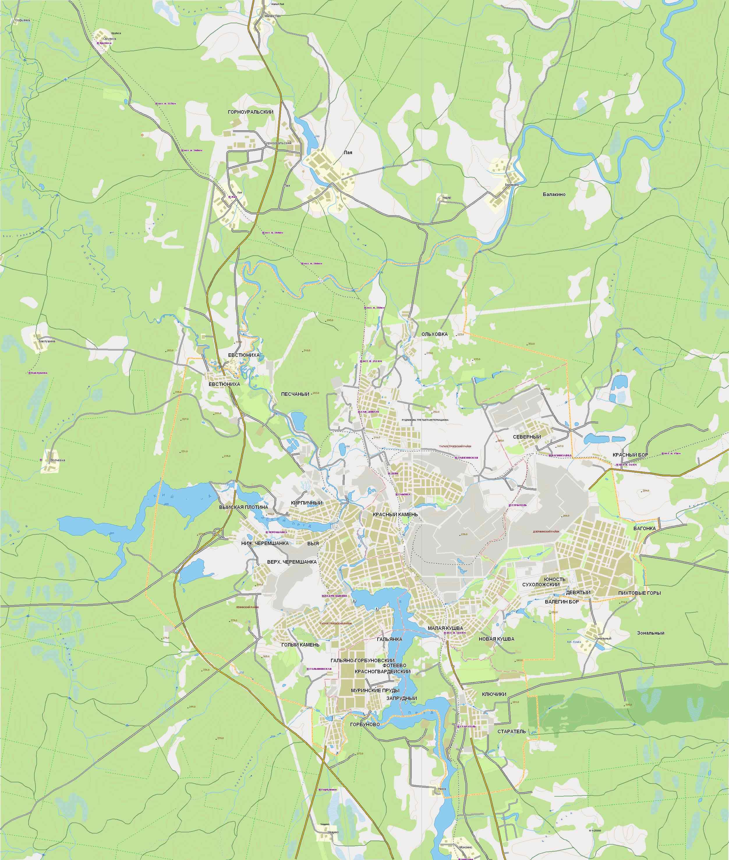 Подробная карта г. Нижний Тагил.  Карта автодорог Нижнего Тагила и окрестностей.