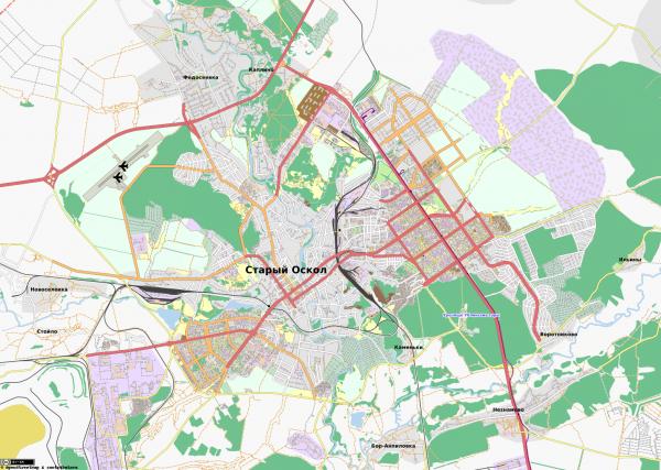 Карта города Старый Оскол с