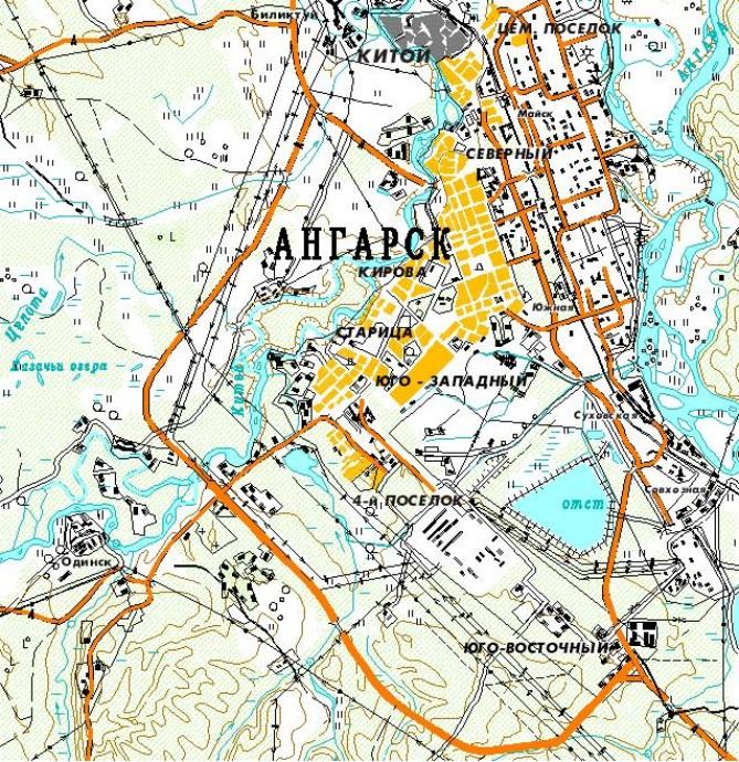 Карта Ангарска с улицами