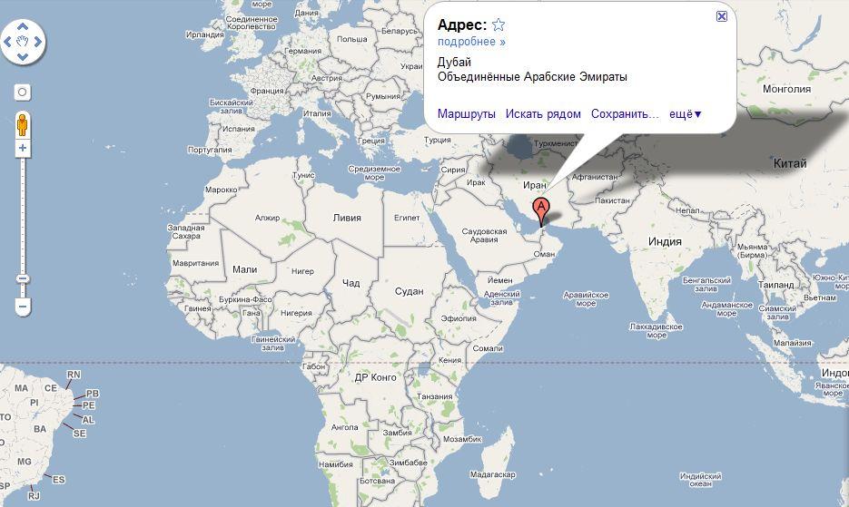 Арабские Эмираты на карте мира