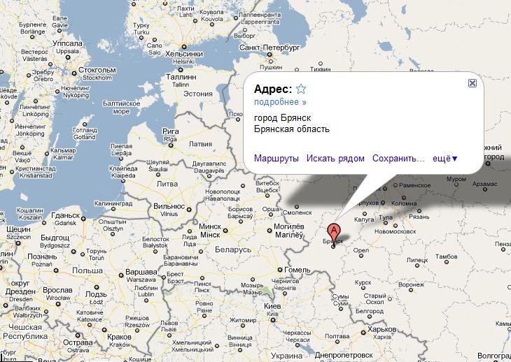Брянск показать а карте где находиться
