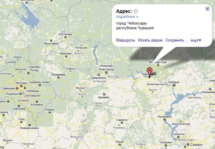 Чебоксары на карте России..