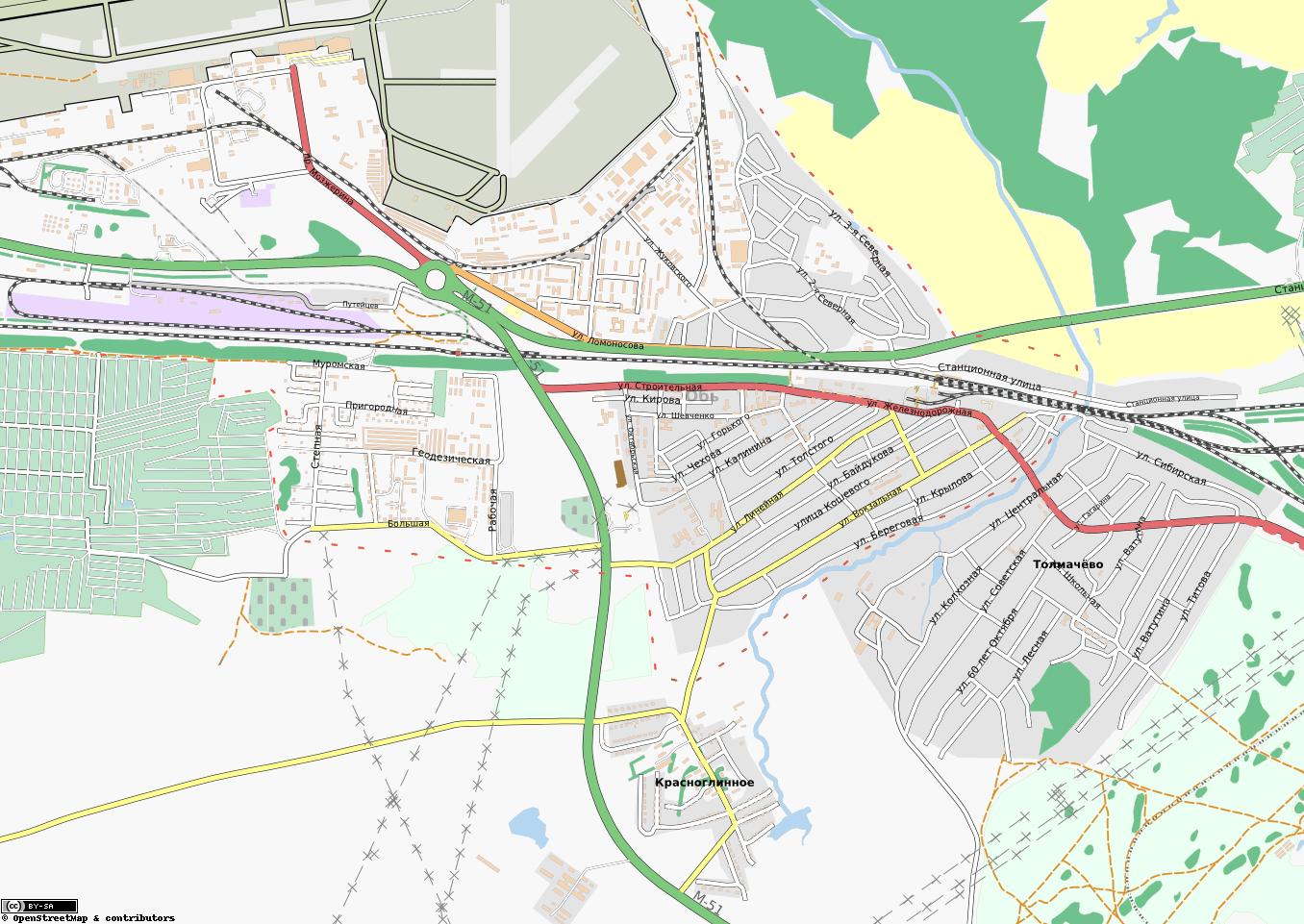 Карта города обь с улицами карты