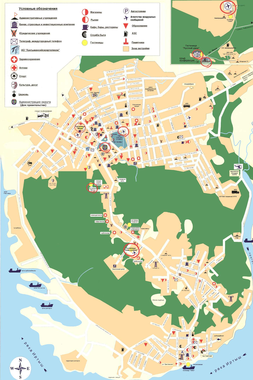 Карта города Ханты-Мансийск с улицами. Номера домов ...