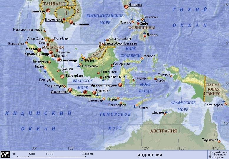 Карта где находится индонезия