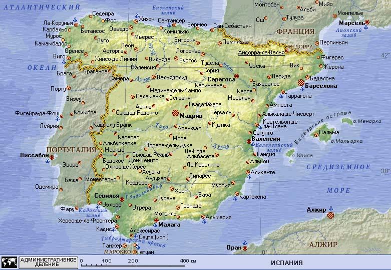 Карта испании на русском языке