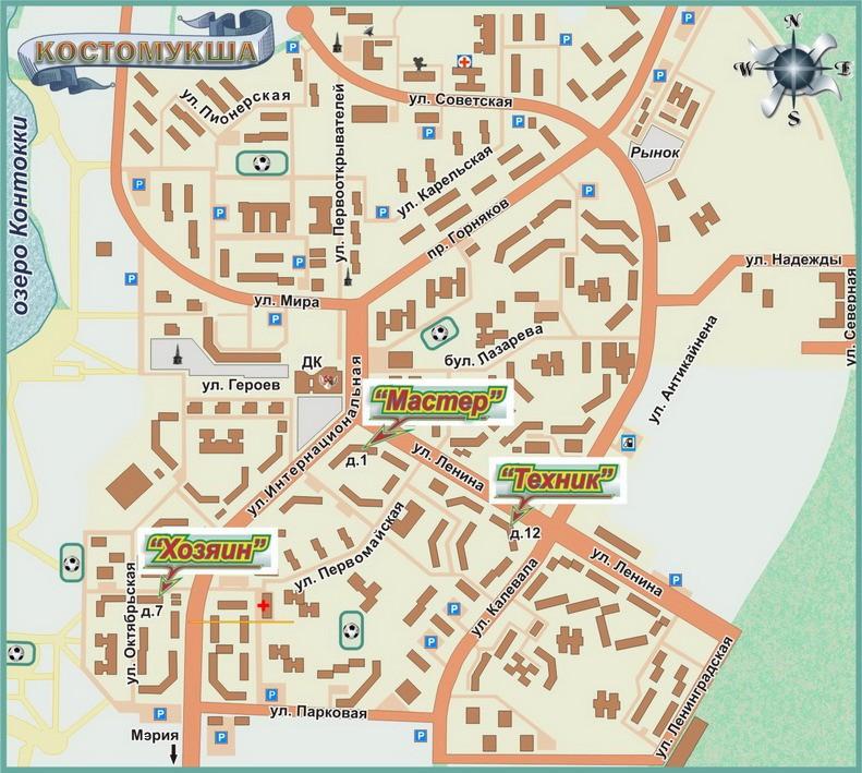 Карта Костомукши с улицами