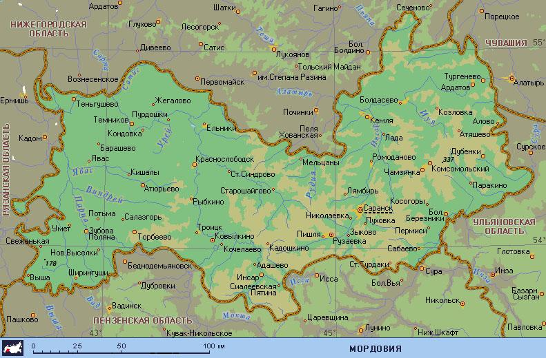 где находится саранск на карте россии сложить