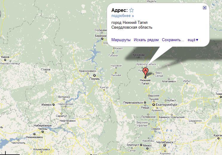 По карте где находится нижний тагил