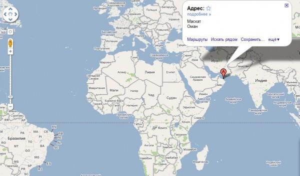Оман на карте