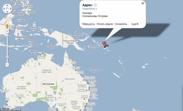 Соломоновы острова на карте