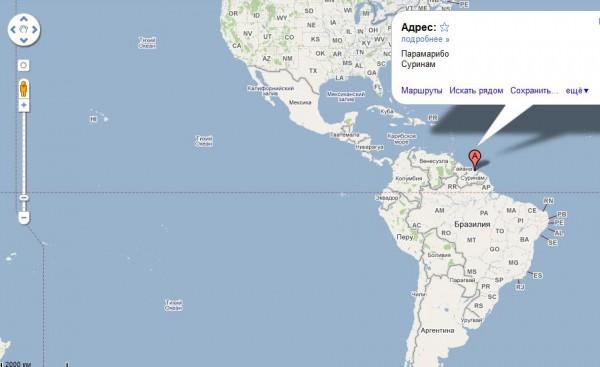 Суринам на карте