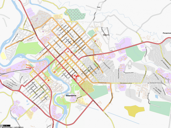 Карта города Боровичи с