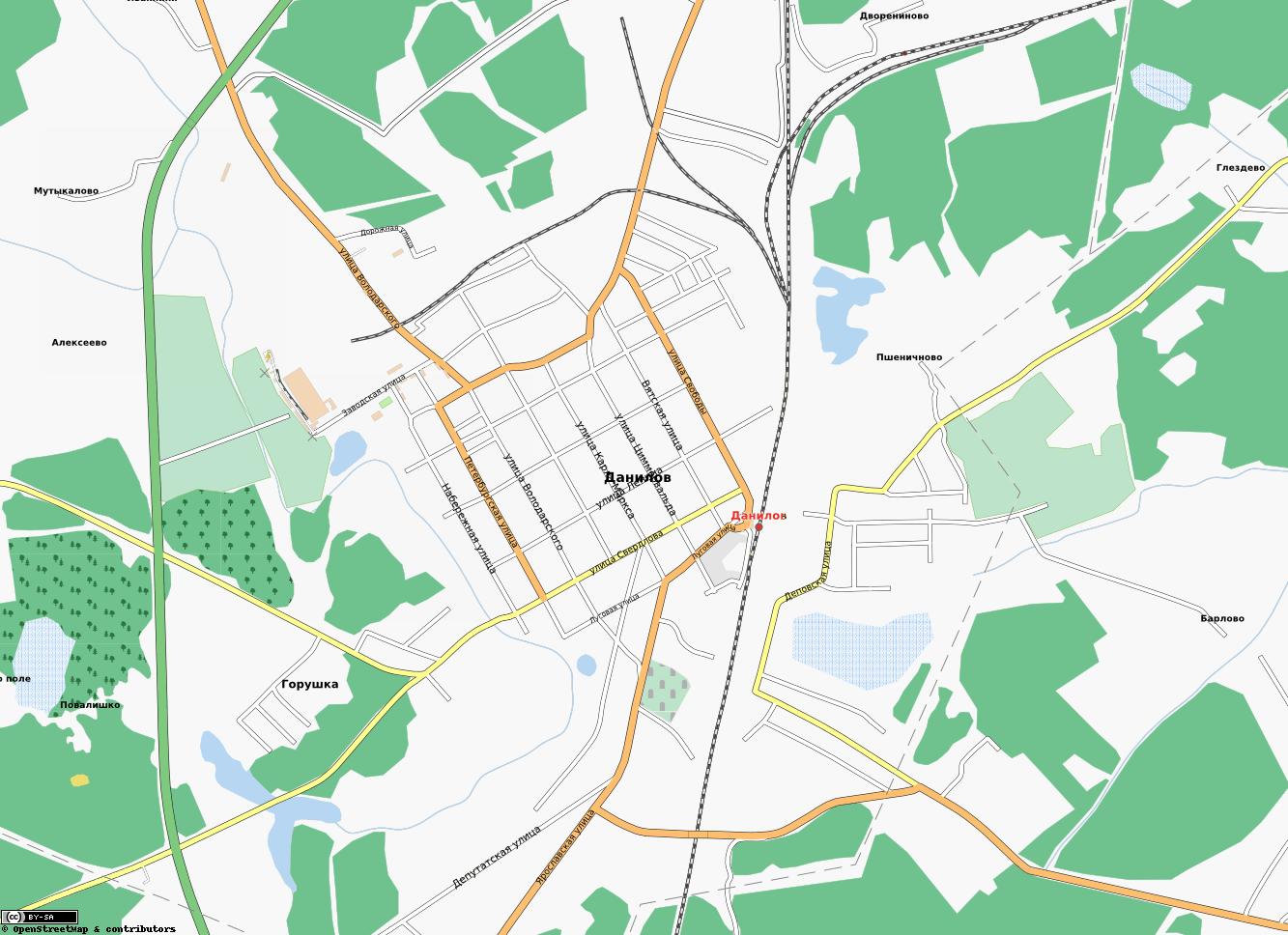 Карта города данилов с улицами карты