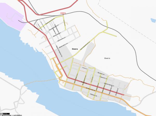 Карта города Онега с улицами