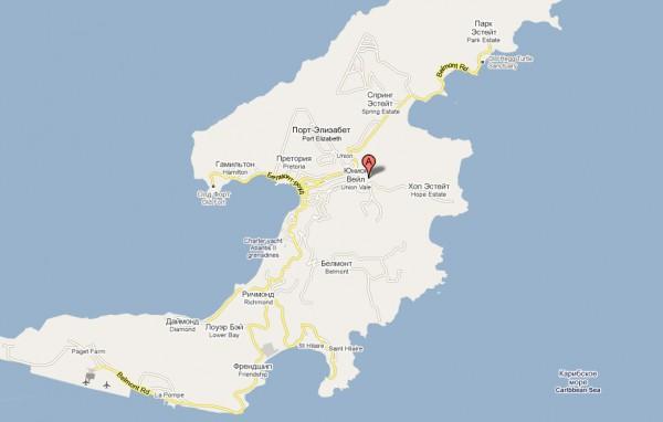 Карта Сант-Винсент и Гренадины