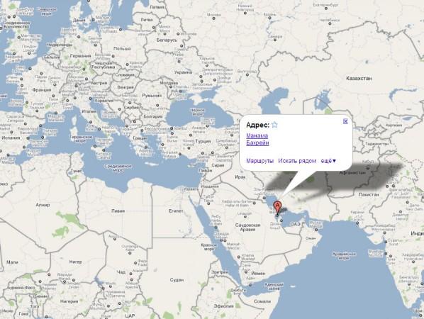 Бахрейн на карте мира