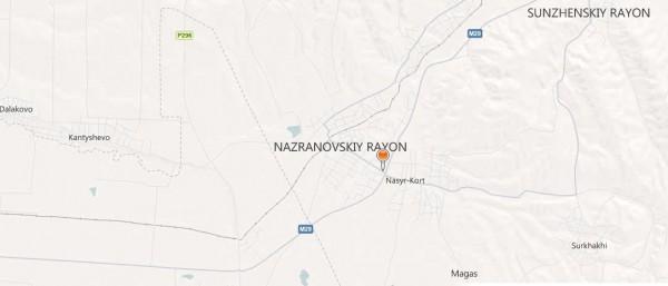 Карта города Назрань с улицами