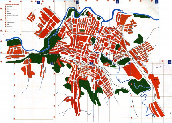 Карта города Кувандык с улицами