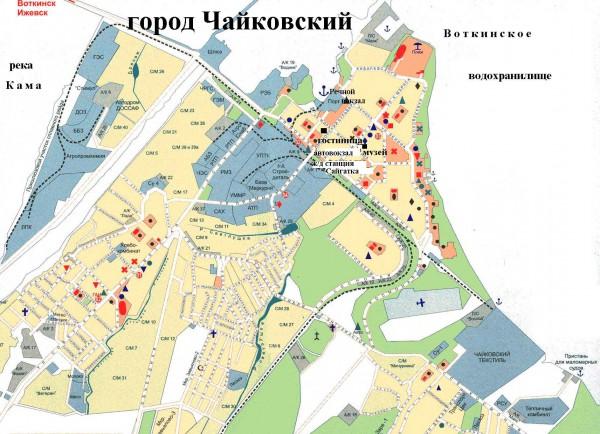 Карта города Чайковский с улицами