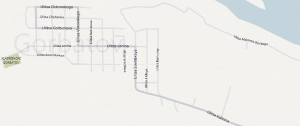 Карта города Горбатов с улицами