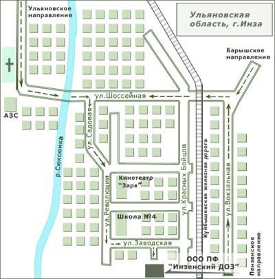 Карта города Инза с улицами
