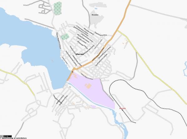 Карта города Нытва с улицами