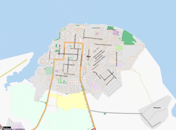 Карта города Оса с улицами