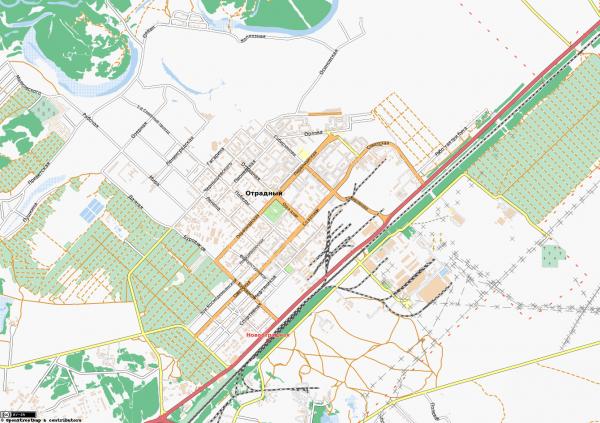 Карта города Отрадный с улицами