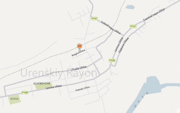 Карта города Урень с улицами