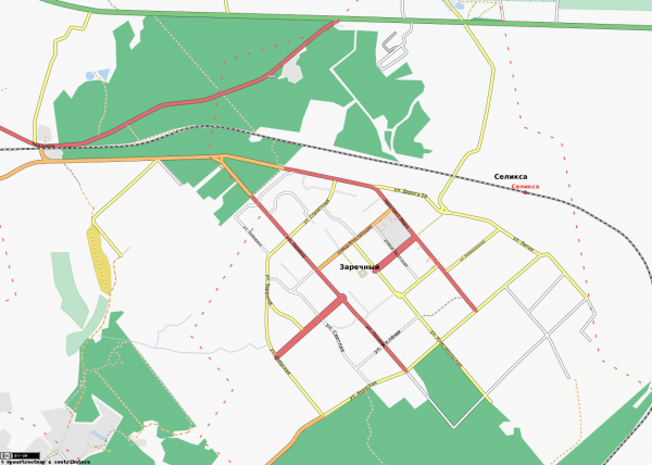 Карта города Заречный с улицами