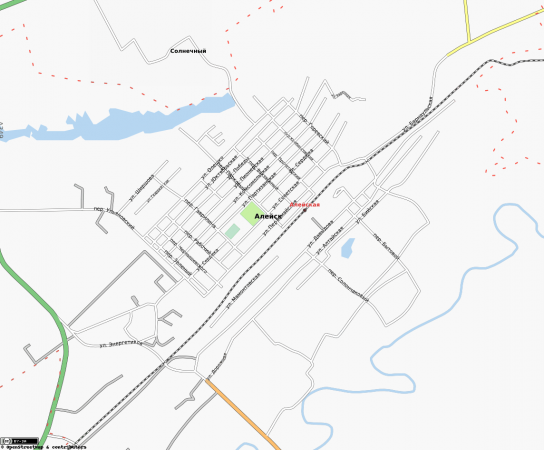 Карта Алейска с улицами