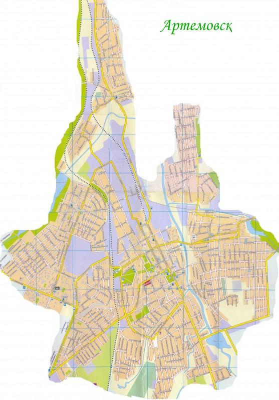 Карта Артёмовска с улицами