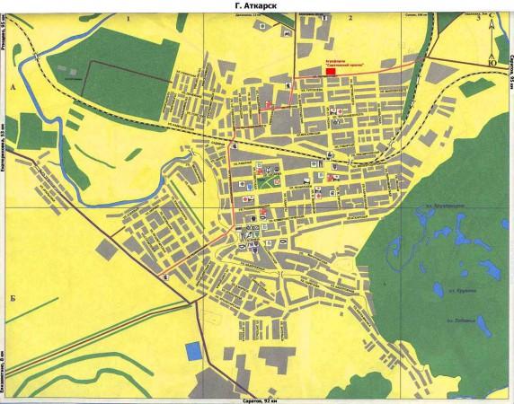 Карта Аткарска с улицами