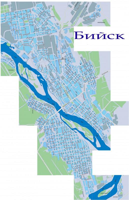 Карта Бийска с улицами