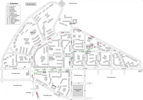 Карта Добрянки с улицами