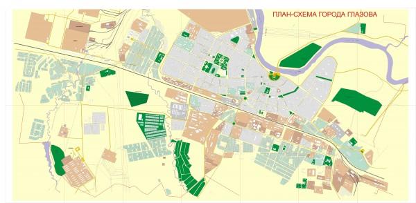 Карта Глазова с улицами