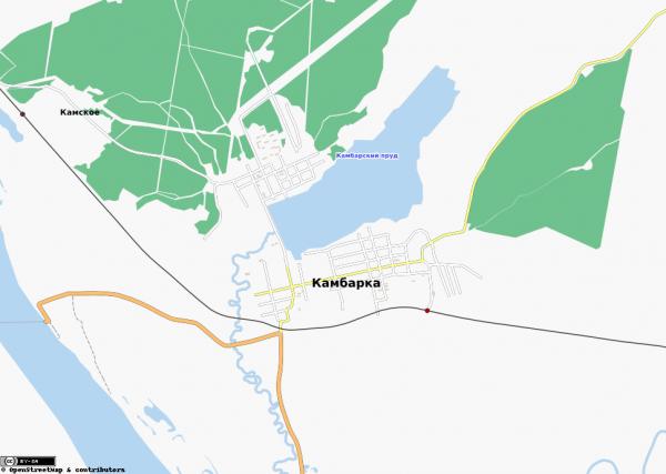 Карта города Камбарка с улицами