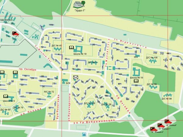 Карта города Миасс с улицами