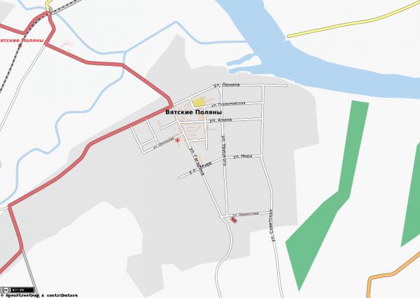 Карта города Вятские Поляны с улицами