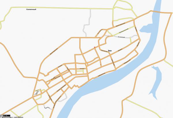 Карта Зея с улицами