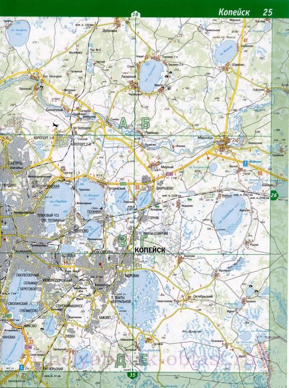 Карта Копейска с улицами