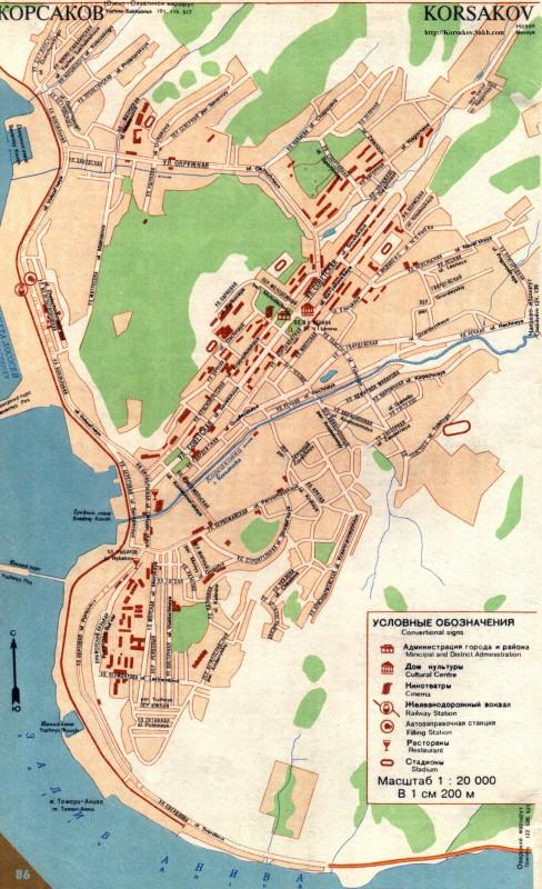 Карта Корсакова с улицами