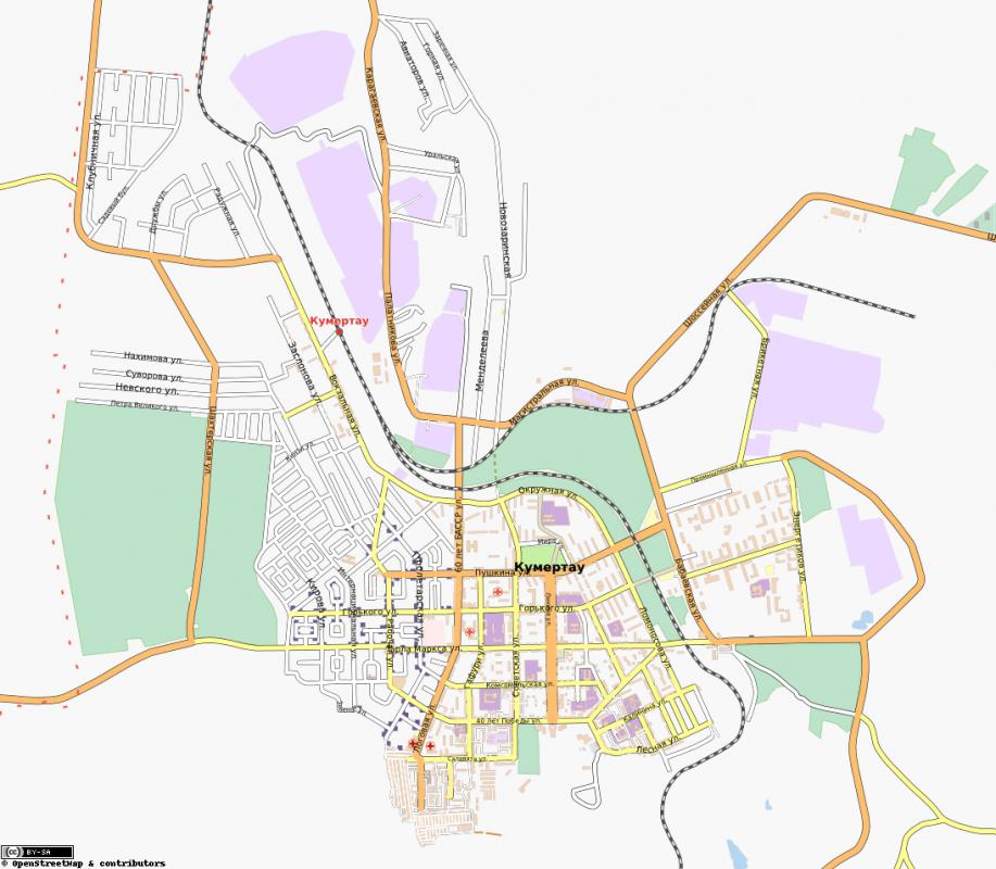 Карта Кумертау с улицами