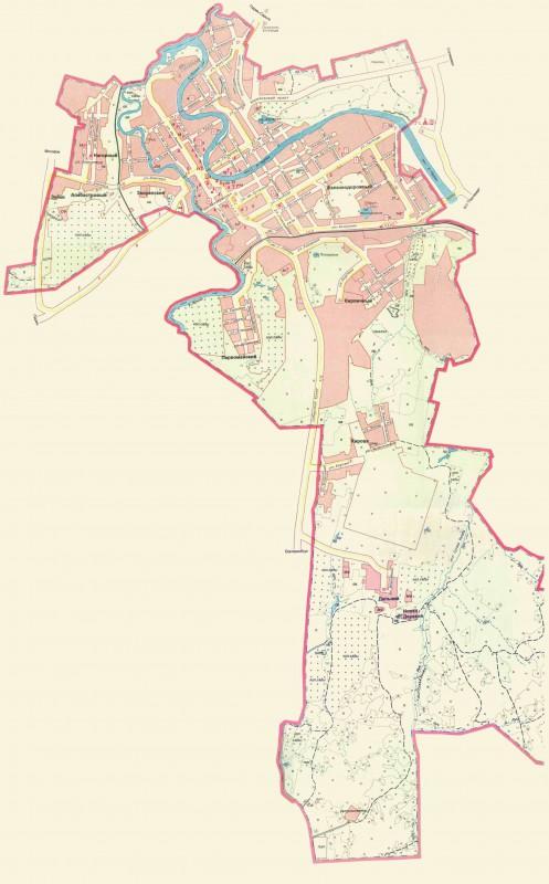 Карта Кунгура с улицами